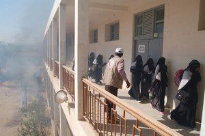 Brandübung an einer Schule in Tarim