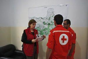 Einsatzbesprechung mit dem Libanesischen Roten Kreuz