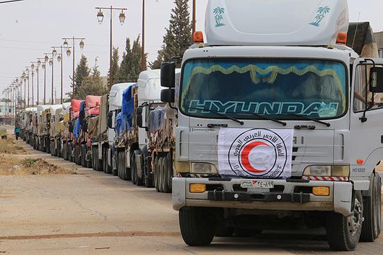 Hilfslieferung nach Daraa im Süden Syriens.