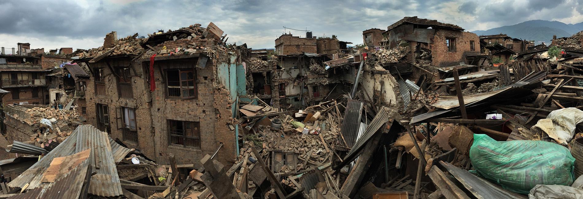 Foto: zerstörte Häuser in Nepal