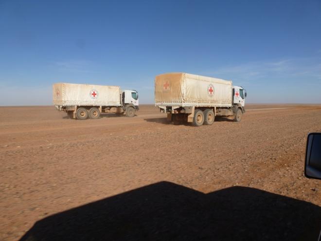 Zwei Rotkreuz-LKWs in der Wüste