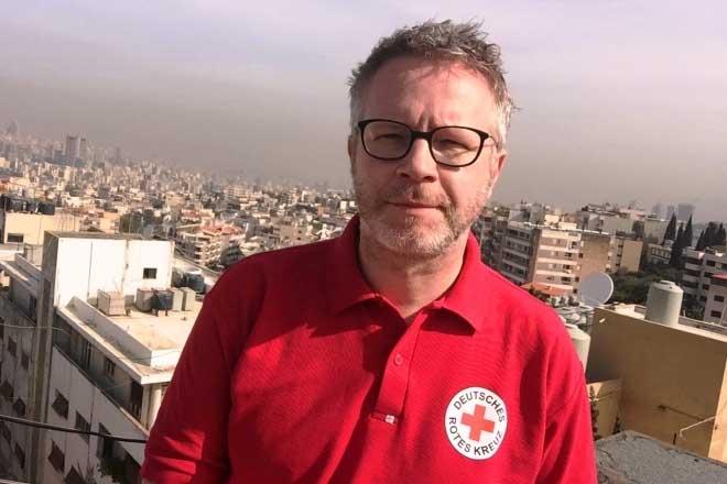 DRK-Mitarbeiter Rouven Brunnert in Beirut. Foto: Libanesisches Rotes Kreuz/LRC