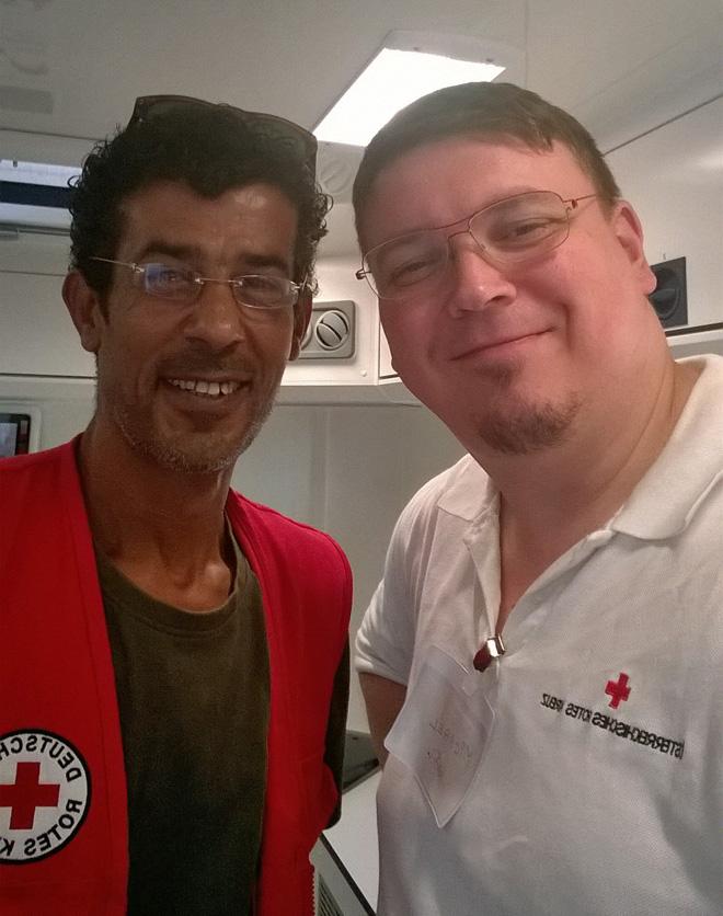 In Griechenland hat Michael Kühnel (r.) seinen Kollegen Omar wiedergetroffen. Foto: Michael Kühnel/ÖRK