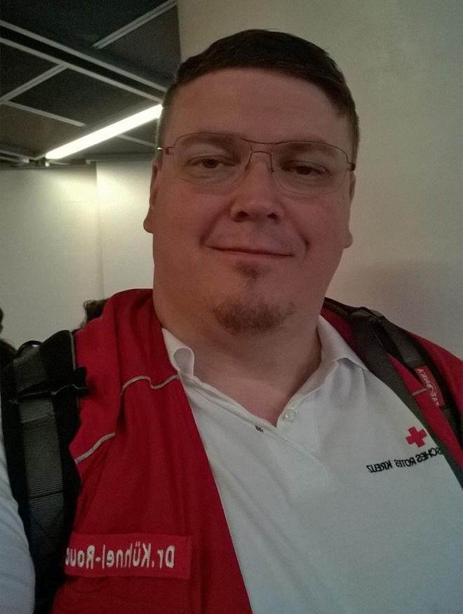Dr. Michael Kühnel-Rouchouze, Arzt für Allgemeinmedizin (Diplom in Tropenmedizin) und Delegierter des Roten Kreuzes