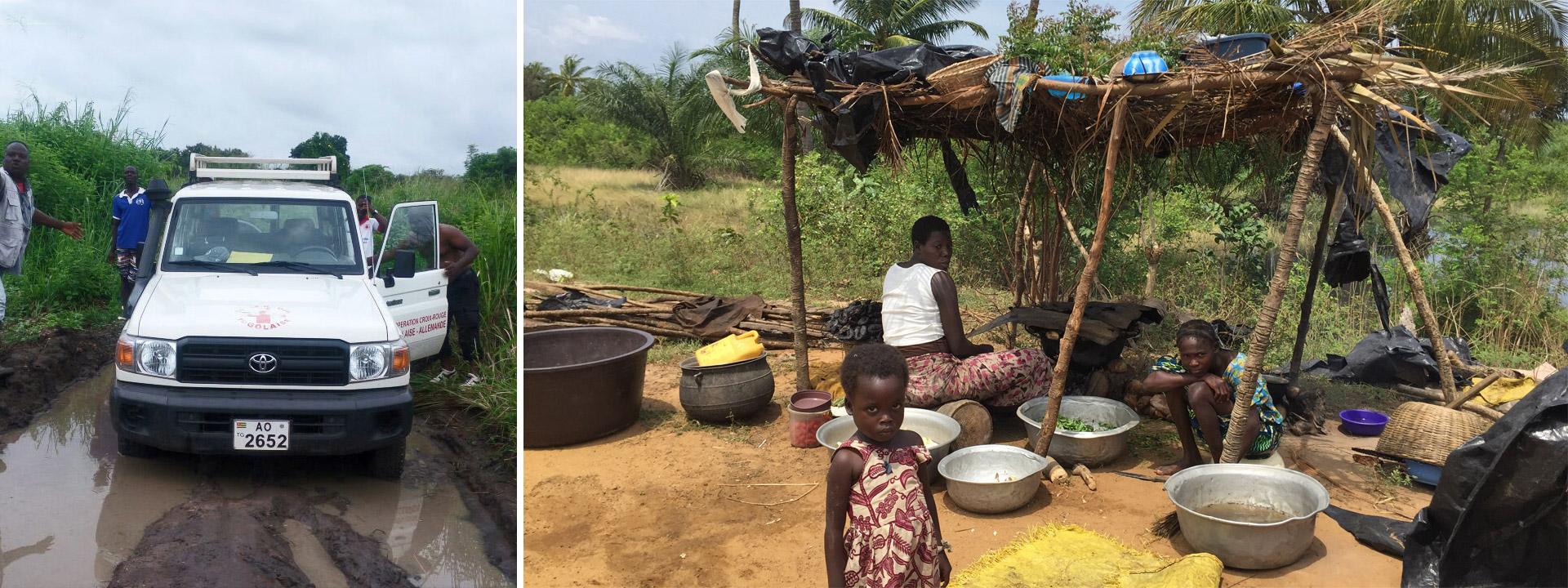 Foto-Collage: ein Feep im Schlamm und Frauen unter einerm provisorischen Unterstand