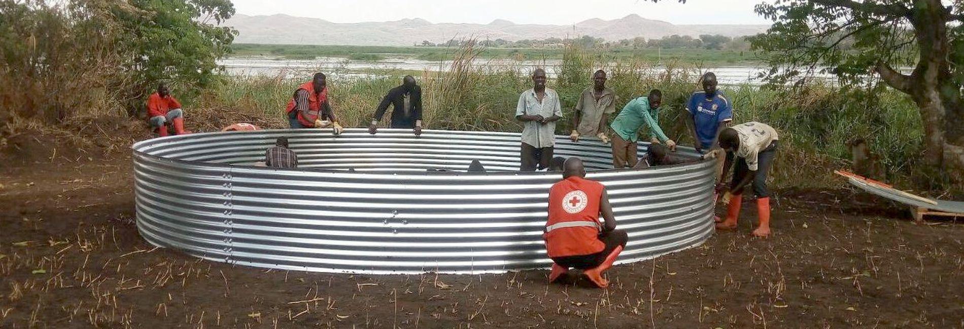 Das Becken für eine Wasseraufbereitungsanlage