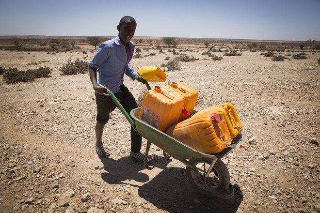In solchen Wasserkanistern wird das Wasser oft viele Kilometer weit transportiert: Foto: The Netherlands Red Cross