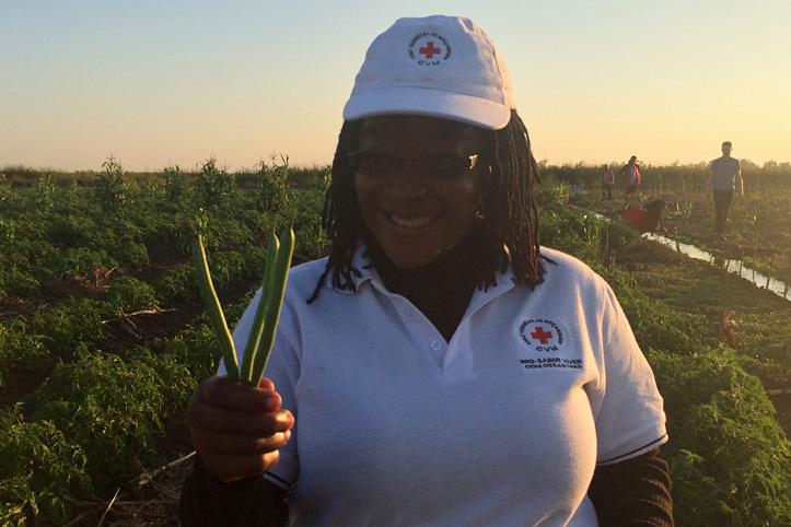 Foto: Mosambikanische Rotkreuzmitarbeiterin mit großen grünen Bohnen in der Hand.