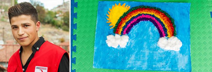 Foto-Collage: Helferportrait und Kinderbastelei, ein Regenbogen mit Sonne und Wolken