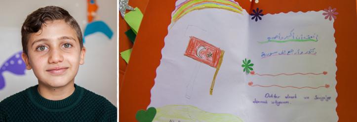 Foto: Collage aus Portrait eines Jungen und ein Kinderbild mit türkischer Flagge.