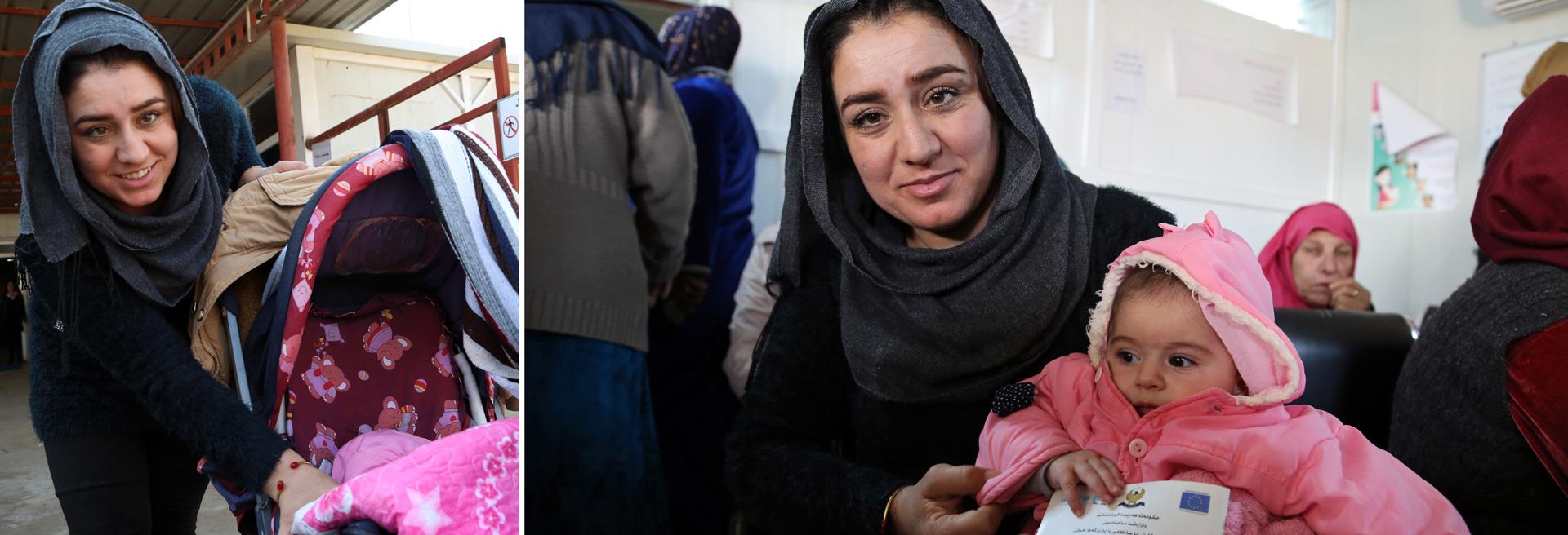 Fotocollage: Junge Syrerin am Kinderwagen und mit ihrer Tochter