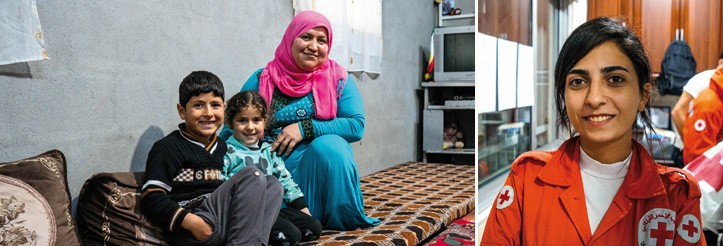 Collage: Refugee family and Red Crescent volunteer