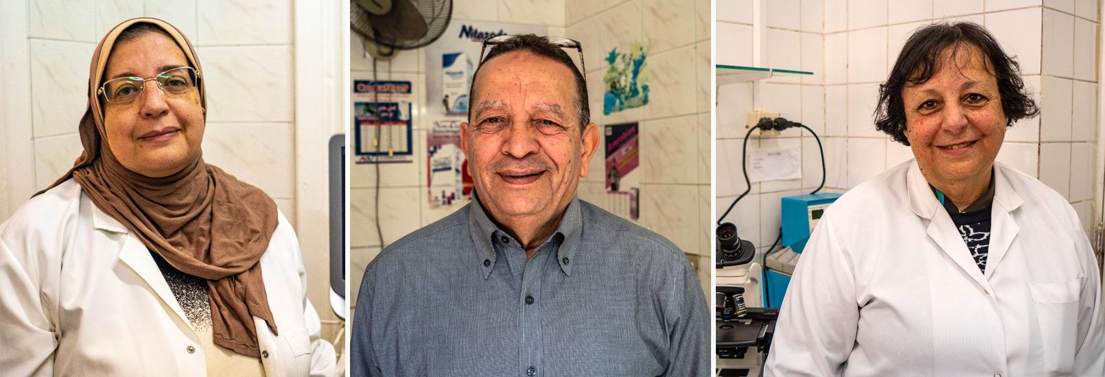 Drei Mitarbeiter im Rothalbmond-Krankenhaus in Alexandria