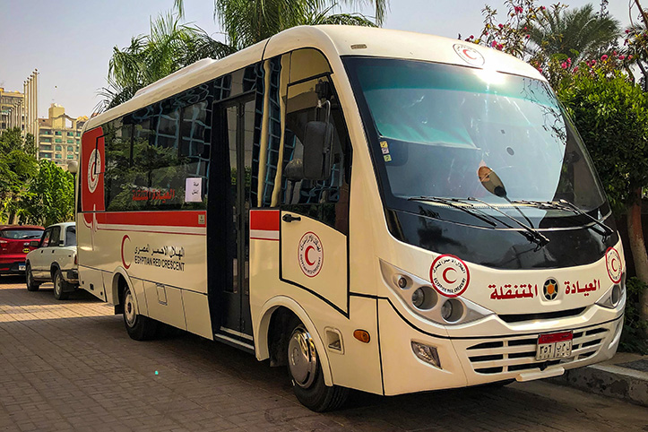 Mobile clinic bus of Egyptian Red Crescent