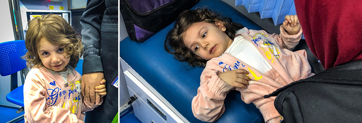 4 year old patient in mobile hospital
