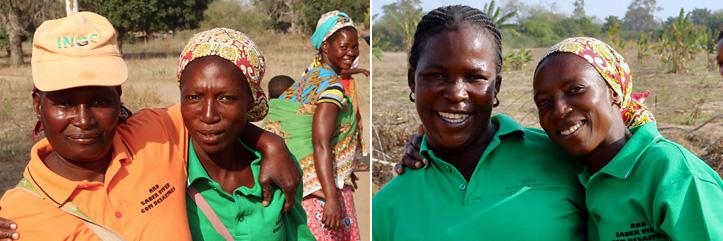 Collage: Mosambikanische Frauen in verschiedenfarbigen Shirts