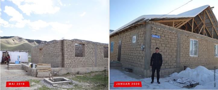 Collage: Entwicklung eines Hausbaus in Kirgistan