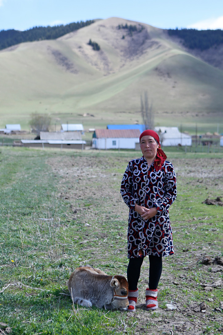 Foto: Kirgisin mit Kalb vor den Bergen Kigistans