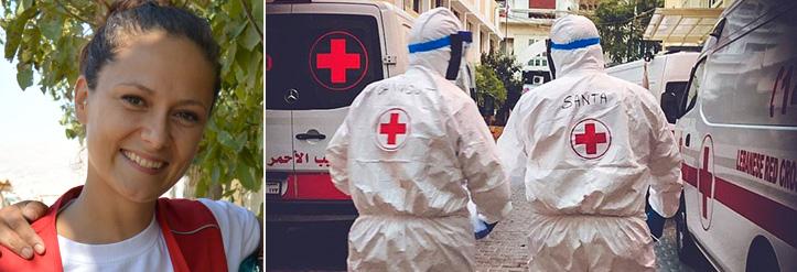 DRK-Mitarbeiterin und libanesische Rotkreuz-Sanitäter