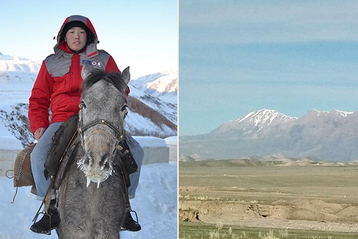 kirgisischer Helfer auf Pferd im Winter