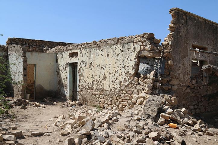 Trümmer eines Hauses in Somalia