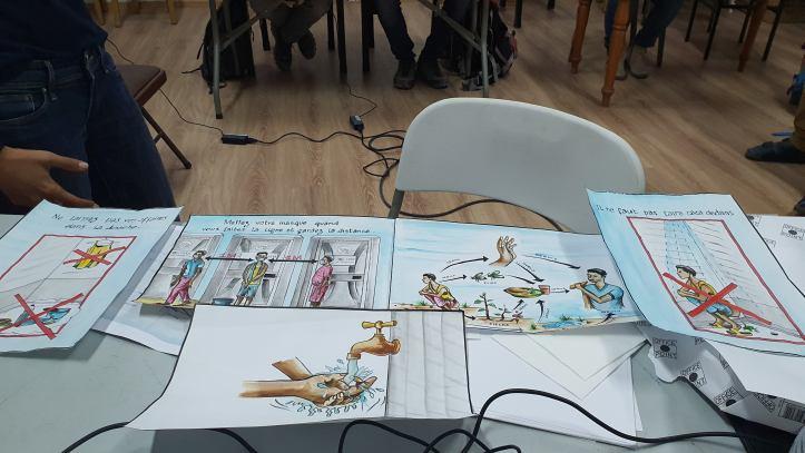 Zeichnungen vermitteln Informationen zu Hygiene