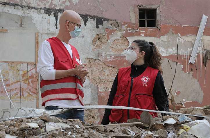 Mitarbeiter des Libanesischen Roten Kreuzes