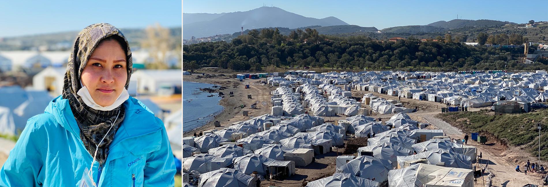 Geflüchtete in Kara Tepe und Blick auf Flüchtlingslager