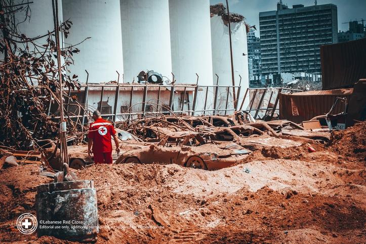 Schreckliche Zerstörung am Hafen von Beirut