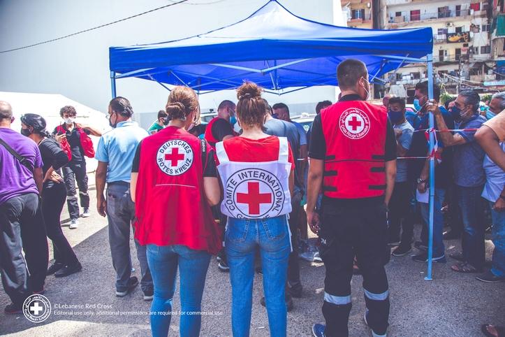 Die Mitarbeitenden des Deutschen und Libanesischen Roten Kreuzes