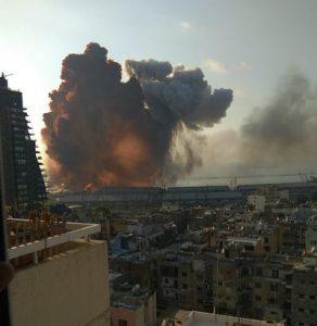 Rauchwolke über dem Beiruter Hafen